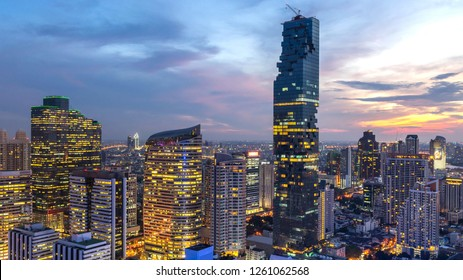 beautiful sunset of the Metropolitan Bangkok City downtown cityscape urban skyline tower Thailand - landscape Bangkok city Thailand
