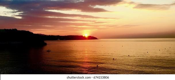 Beautiful sunset to Monaco Bay