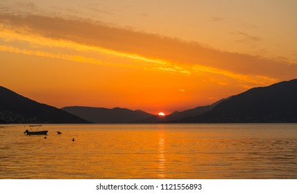 Beautiful sunset in Montenegro