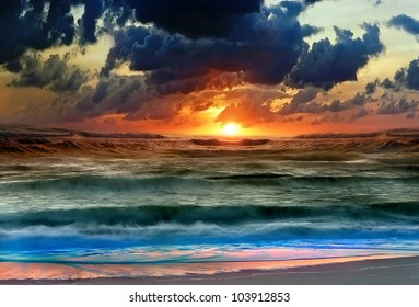 The beautiful sunset is more tremendous. The green-blue sea. The dark sky