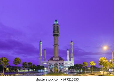 Beautiful sunset mosque in  Pontianak, Indonesia