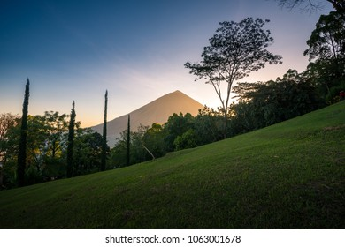 Beautiful sunset of Mount Inerie Volcano in Flores island
