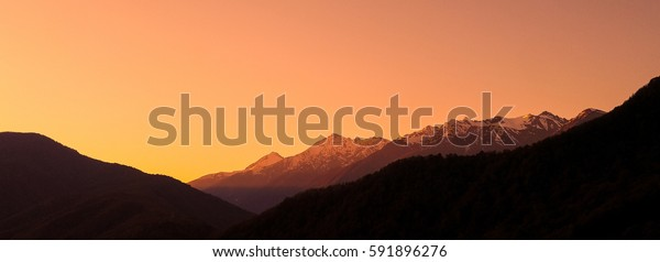Beautiful sunset in the mountains.