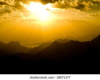 Beautiful sunset in mountains. Caucasus.