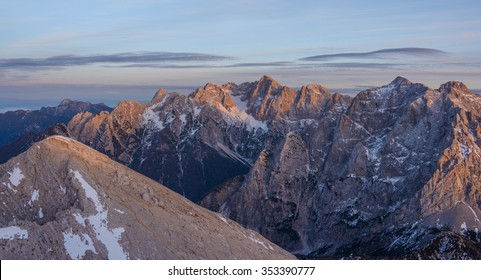 Beautiful sunset in the mountains. Image was taken at Mojstrovka mountain in Julian Alps.