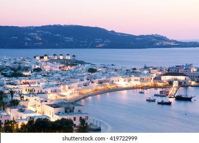 Beautiful sunset at Mykonos island, Greece