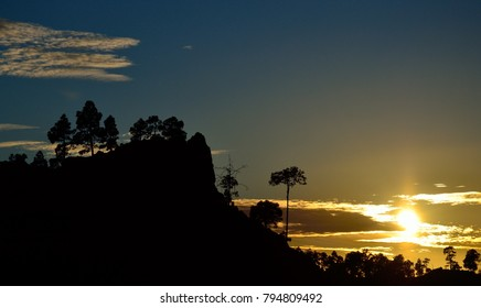 Beautiful sunset from the natural park of Pilancones in the Gran canaria island, Spain
