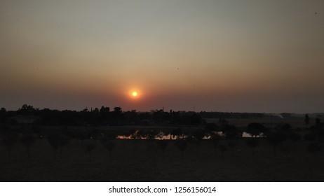 beautiful sunset near Balurghat