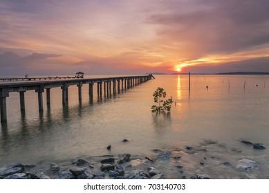 Beautiful sunset near the beach at Pasir Panjang jetty.