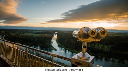 Beautiful sunset near Labe and Vltava, Czech Republic