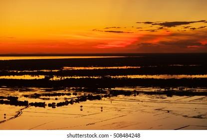 Beautiful sunset near siem reap cambodia