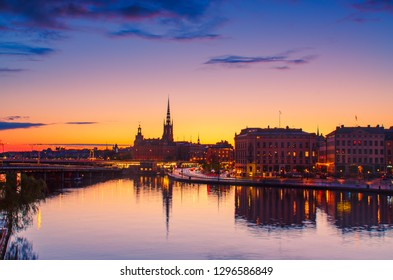 Beautiful sunset near subway station Slussen in the center of Stockholm - the capital of Sweden