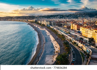 Beautiful sunset in Nice, France