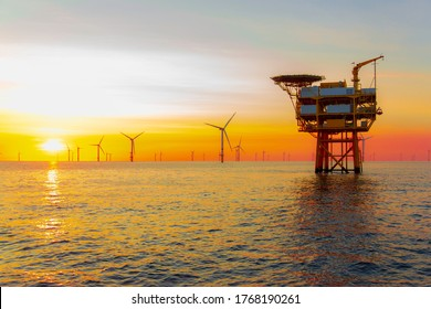 Beautiful sunset in the North Sea offshore wind farm
