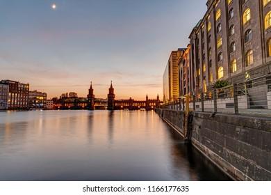 Beautiful sunset at the Oberbaumbridge in Berlin, Germany