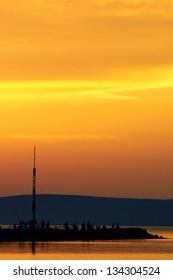 Beautiful Sunset at the ocean at summer