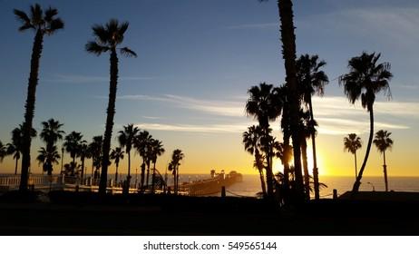 BEAUTIFUL SUNSET AT OCEANSIDE PIER