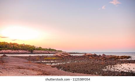 Beautiful sunset in Ogunquit beach USA
