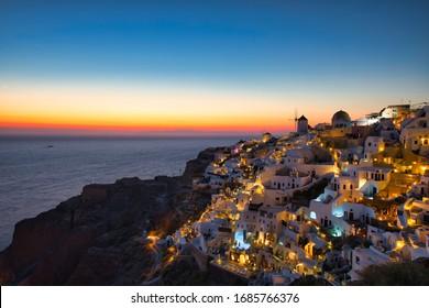 Beautiful sunset at Oia on Santorini Island, Greece