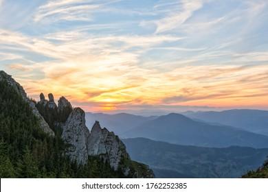Beautiful sunset on an autumn day in Ceahlau Mountains, Romania