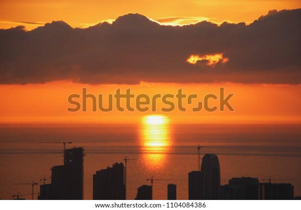 Beautiful sunset on Batumi