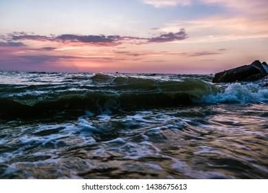 beautiful sunset on the beach of the Azov Sea