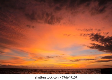Beautiful Sunset on the beach with dramatic sky
