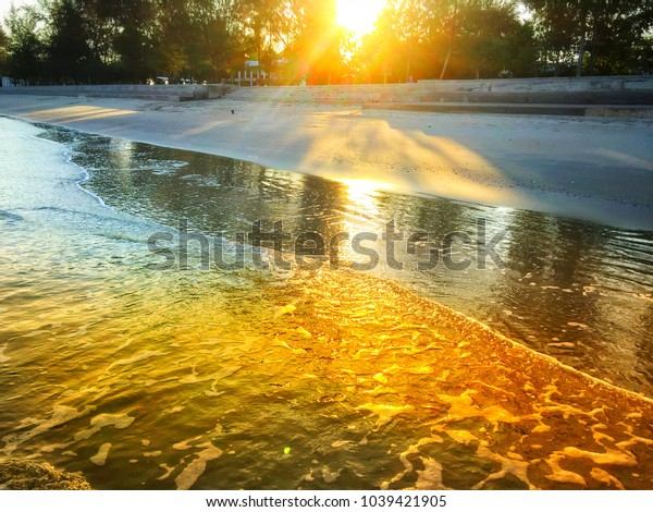 Beautiful Sunset on the beach in the evening,landscape