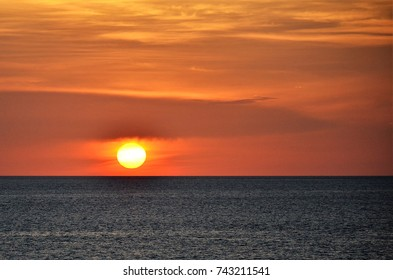 Beautiful sunset on the caribbean sea during cruise.