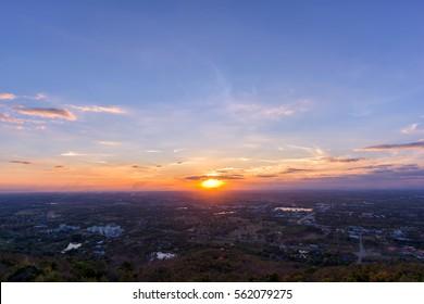 Beautiful sunset on city
