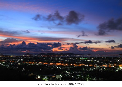 Beautiful sunset on the city lights at dusk the view point