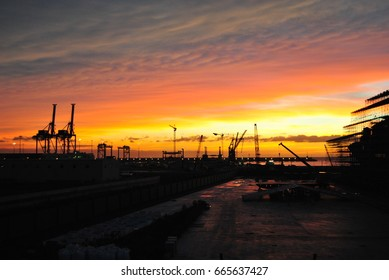 A beautiful sunset on Civitavecchia harbour