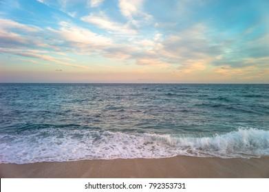 beautiful sunset on the coast of spain