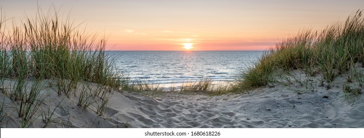 Beautiful sunset on the dune beach, North Sea, Germany