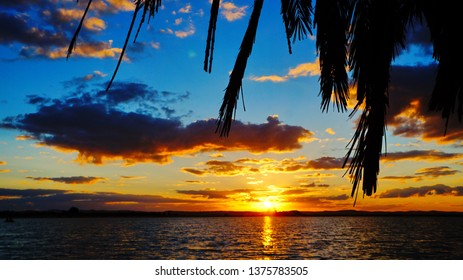 Beautiful sunset on Fatnas Island at the salty Birket Siwa (Siwa Lake), Siwa Oasis, Sahara desert, Egypt, Africa