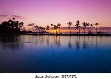 Beautiful sunset on Hawaiian beach, Big Island