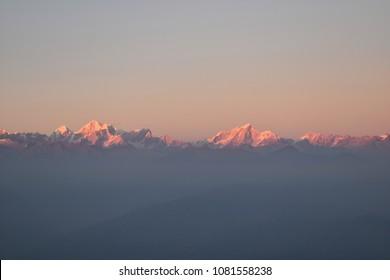 A Beautiful Sunset on Himalayas Mountain in Kathmandu, Nepal