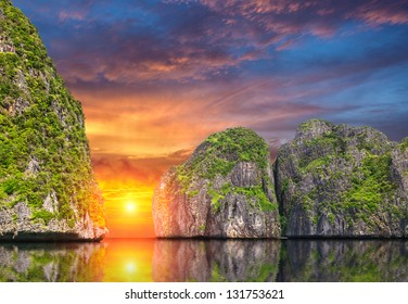 Beautiful sunset on the island Phi Phi. Thailand