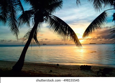 Beautiful sunset on the island of Saipan. A great vacation on the island of Saipan.