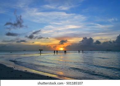 Beautiful sunset on the island of Saipan. Good value on the island of Saipan.
