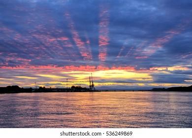 Beautiful sunset on the Kamchatka River.Kamchatka Peninsula. Russia, Far East.
