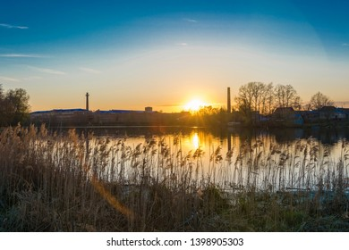 Beautiful sunset on the Knazal lake in the city of Yuzha, Ivanovo region, Russia.