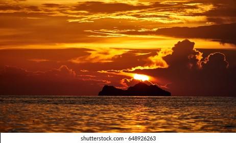 Beautiful sunset on Koh Phangan in Thailand