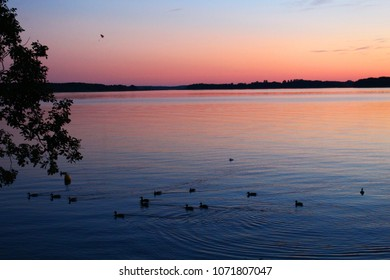 Beautiful sunset on lake masuria poland