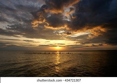 Beautiful sunset on the lake Onega