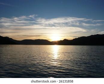 Beautiful sunset on Lake Wakatipu in Queenstown