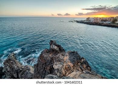 Beautiful sunset on Las Galletas cliffs, Tenerife