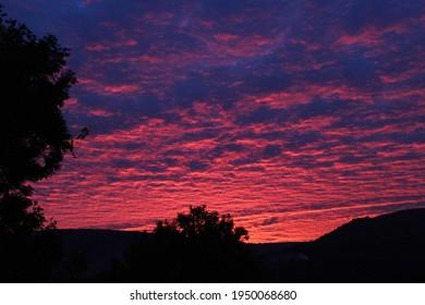 Beautiful sunset on Llanhilleth Mountain in Pontypool, Wales