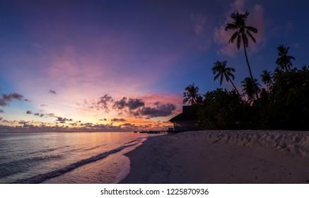 Beautiful sunset on Maldives island