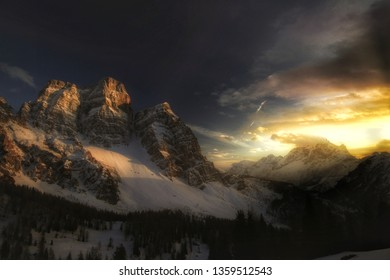 Beautiful sunset on monte Pelmo from val Fiorentina, near rifugio Firenze. Peaks illuminated by last sun ray